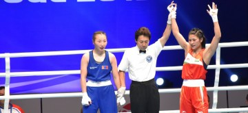 Jamuna Boro wins her frst round match at the AIBA World Women's Boxing Championships in Russia on Friday.