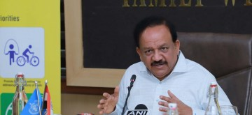 New Delhi: Union Health and Family Welfare Minister Harsh Vardhan addresses at the launch of the 'WHO India Country Cooperation Strategy 2019 – 2023: A Time of Transition', in New Delhi on Oct 9, 2019. (Photo: IANS/PIB)