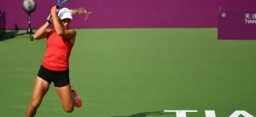 TIANJIN, Oct. 9, 2019 (Xinhua) -- Yulia Putintseva of Kazakhstan hits a return during the women's singles second round match between Yulia Putintseva of Kazakhstan and Samantha Stosur of Australia at the WTA Tianjin Open tennis tournament in Tianjin, north China, Oct. 9, 2019 (Xinhua/Li Ran/IANS)