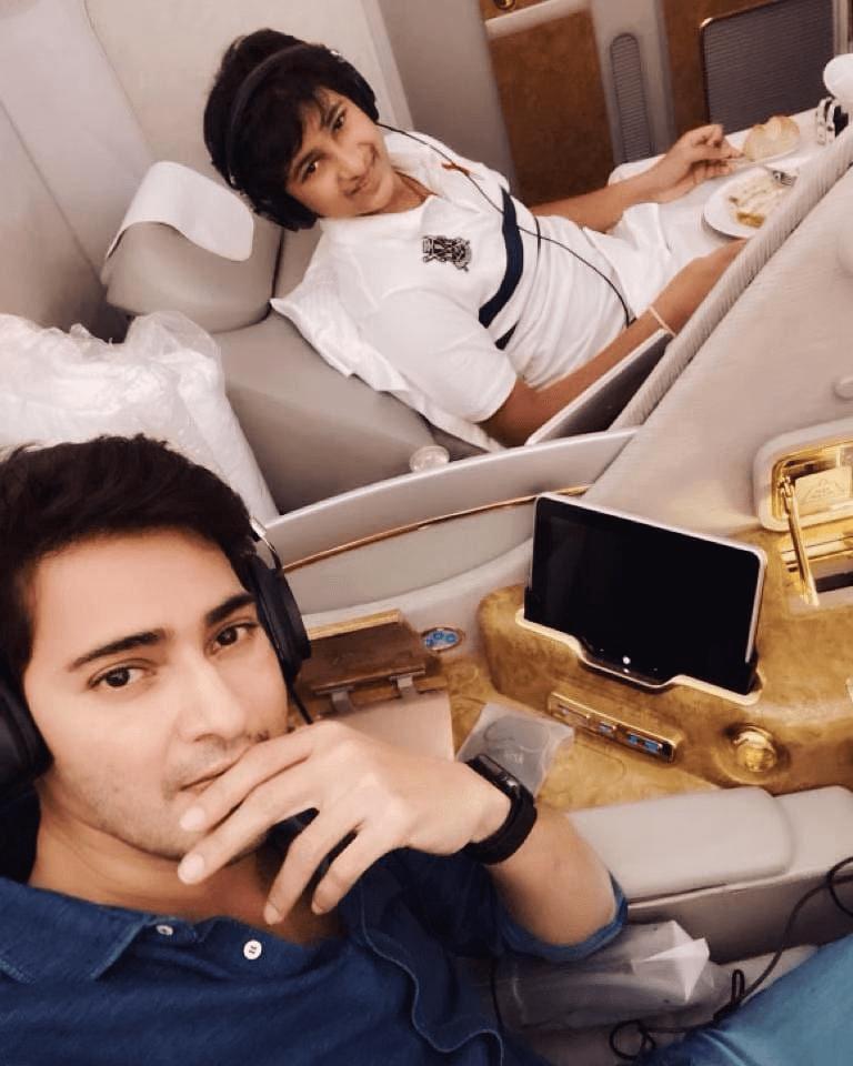 Superstar Mahesh Babu And Gautham Still On A Flight Coming Back From Vacation