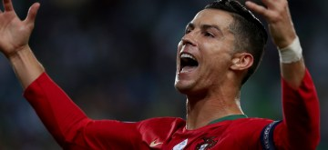 LISBON, Oct. 12, 2019 (Xinhua) -- Cristiano Ronaldo of Portugal celebrates after scoring a goal during the UEFA Euro 2020 qualifying round Group B match between Portugal and Luxembourg in Lisbon, Portugal on October 11, 2019. (Photo by Pedro Fiuza/Xinhua/IANS)