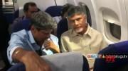 Ex CM Chandrababu and Ex Cricketer Kapil Dev in Same Flight  [HD] (Video)