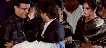 Kolkata: Actor Shah Rukh Khan shares a warm moment with BCCI President Sourav Ganguly as actress Nusrat Jahan looks on, during the inaugural session of 25th Kolkata International Film festival, in Kolkata on Nov 8, 2019. Also seen West Bengal Chief Minister Mamata Banerjee. (Photo: Kuntal Chakrabarty/IANS)