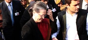 New Delhi: Congress president Sonia Gandhi, vice president Rahul Ganndh and Priyanka Gandhi with other senior leaders at Patiala House Court, in New Delhi on Dec 19, 2015.(Photo: Amlan Paliwal/IANS)