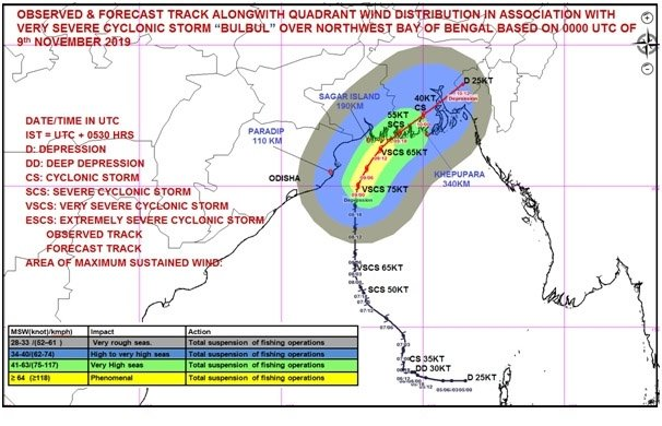 New Delhi: Very Severe Cyclonic Storm 'Bulbul' over northwest Bay of Bengal #Gallery