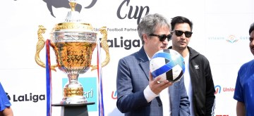 "Mumbai: LaLiga football league MD Jose Antonio Cachaza unveils the trophy at the launch of the fifth edition of ""The Legends Cup"" at Astro Park in Bandra, Mumbai on Nov 9, 2019. (Photo: IANS)"