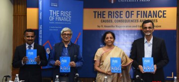 New Delhi: Union Finance Minister Nirmala Sitharaman, Global Innovation Fund Senior Managing Director Gulzar Natarajan, Economic Advisory Council to the Prime Minister Chairman Bibek Debroy and Dean of IFMR Graduate School of Business at Krea University and co-author V. Anantha Nageswaran at the launch of the book 'The Rise of Finance: Causes, Consequences and Cure' in New Delhi on Nov 10, 2019. (Photo: IANS)