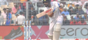 Indian skipper Virat Kohli in action on Day 2 of the second Test match between India and Bangladesh, at the Eden Gardens in Kolkata on Nov 23, 2019. The second Test match between India and Bangladesh is the first ever pink ball Day-Night Test match for both the countries. (Photo: Kuntal Chakrabarty/IANS)