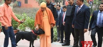 "Uttar Pradesh Chief Minister Yogi Adityanath's pet dog has turned into an internet celebrity. Photographs of Yogi petting the black Labrador have flooded the social media. The black Labrador is named 'Kalu' and is said to be very fond of Adityanath. ""Whenever Yogi Adityanath comes to Gorakhpur, Kalu goes almost berserk. He jumps around in joy,"""