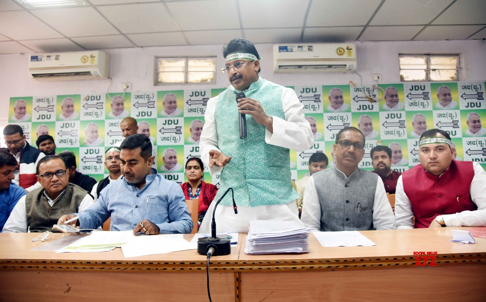 Patna: Abhay Kushwaha at JD - U meeting #Gallery