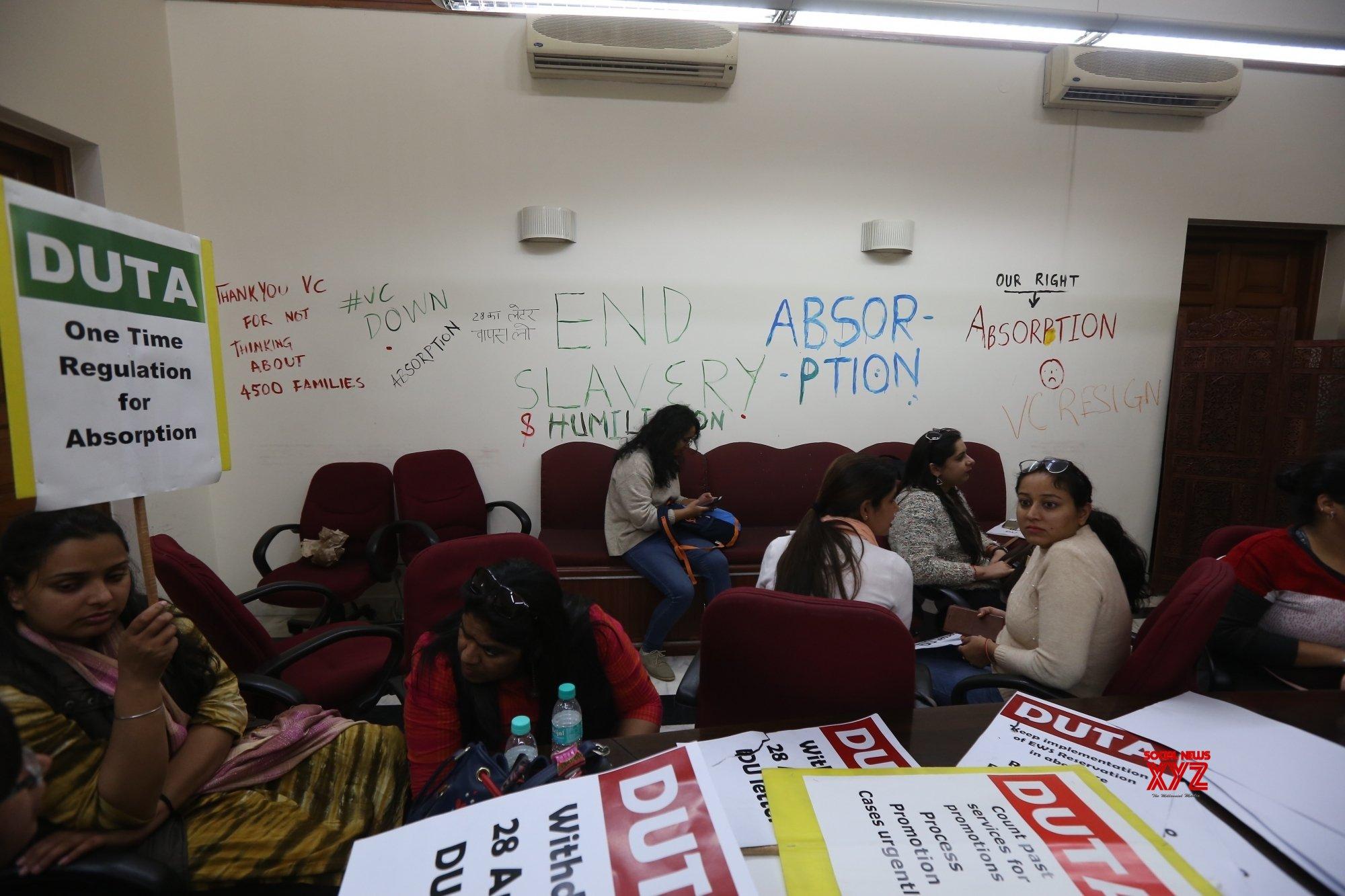 DU teachers protest demanding absorption of ad-hoc teachers