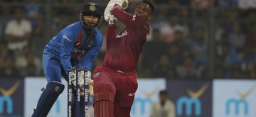 Mumbai: West Indies batsman Shimron Hetmyer in action during the third T20I match between India and West Indies at Wankhede Stadium in Mumbai on Dec 11, 2019. (Photo: Surjeet Yadav/IANS)