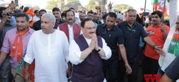 Panaji: BJP National Working President J.P. Nadda leads Goa's first major pro Citizenship (Amendment) Act (CAA) rally, in Panaji on Jan 3, 2020. Also seen Union Minister Shripad Yesso Naik. (Photo: IANS)