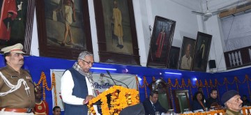 Patna: Bihar Governor Phagu Chauhan addresses at the Foundation Day programme of Patna University, on Jan 11, 2020. (Photo: IANS)