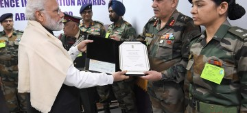 New Delhi: Prime Minister Narendra Modi participates in Army Day 2020 programme at Army House in New Delhi on Jan 15, 2020. (Photo: IANS/PIB)