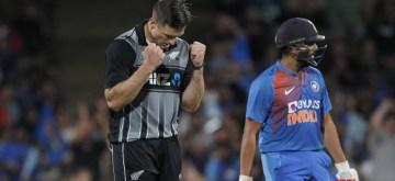 Hamilton: New Zealand's Hamish Bennett celebrates the wicket of Rohit Sharma during the third T20I of the five-match rubber at Seddon Park in Hamilton, New Zealand on Jan 29, 2020. (Photo: IANS)