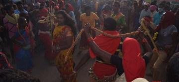Medaram: Devotees during Asia's biggest tribal fair, Sammakka-Saralamma jatara at Medaram in Telangana's Mulugu district on Feb 5, 2020. Devotees, mostly tribals, from Telangana, Andhra Pradesh, Odisha, Chhattisgarh, Madhya Pradesh, Maharashtra, Karnataka and other states are attending the four-day biennial festival at Eturangaram wildlife sanctuary. The devotees including women were standing in long queues to offer jaggery to tribal goddesses Sammakka and Sarakka, also called as Saralamma. Sammakka and Sarakka were legendary warriors from the Koya tribe who died while fighting against the Kakatiya empire over 800 years ago. (Photo: IANS)