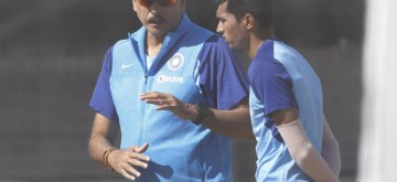 Auckland: Indian Head Coach Ravi Shastri and Navdeep Saini during a practice session ahead of the 2nd ODI against New Zealand at Auckland in New Zealand on Feb 7, 2020. (Photo: IANS)
