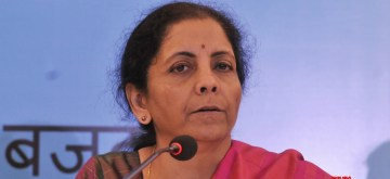 Kolkata: Union Finance and Corporate Affairs Minister Nirmala Sitharaman addresses a press conference during an interactive session with opinion makers organised to review their suggestions on the Union Budget 2020, in Kolkata on Feb 9, 2020. (Photo: IANS)