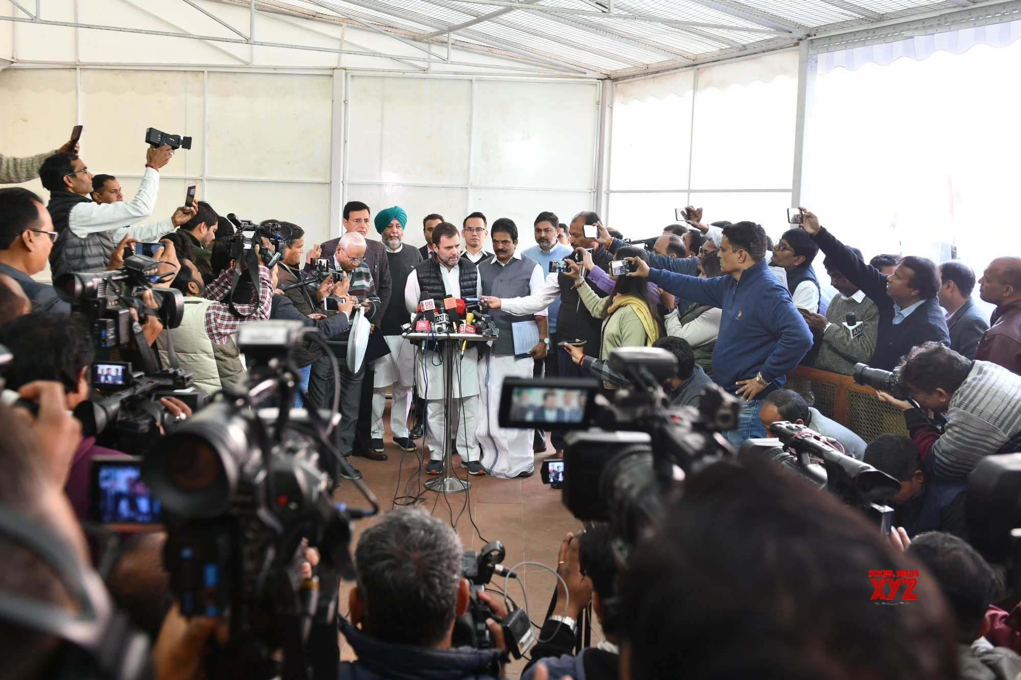 New Delhi: Budget Session - Rahul Gandhi talks to the media at Parliament #Gallery