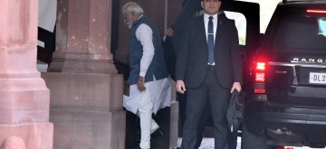 New Delhi: Prime Minister Narendra Modi arrives at Parliament during the Budget Session, in New Delhi on Feb 11, 2020. (Photo: IANS)