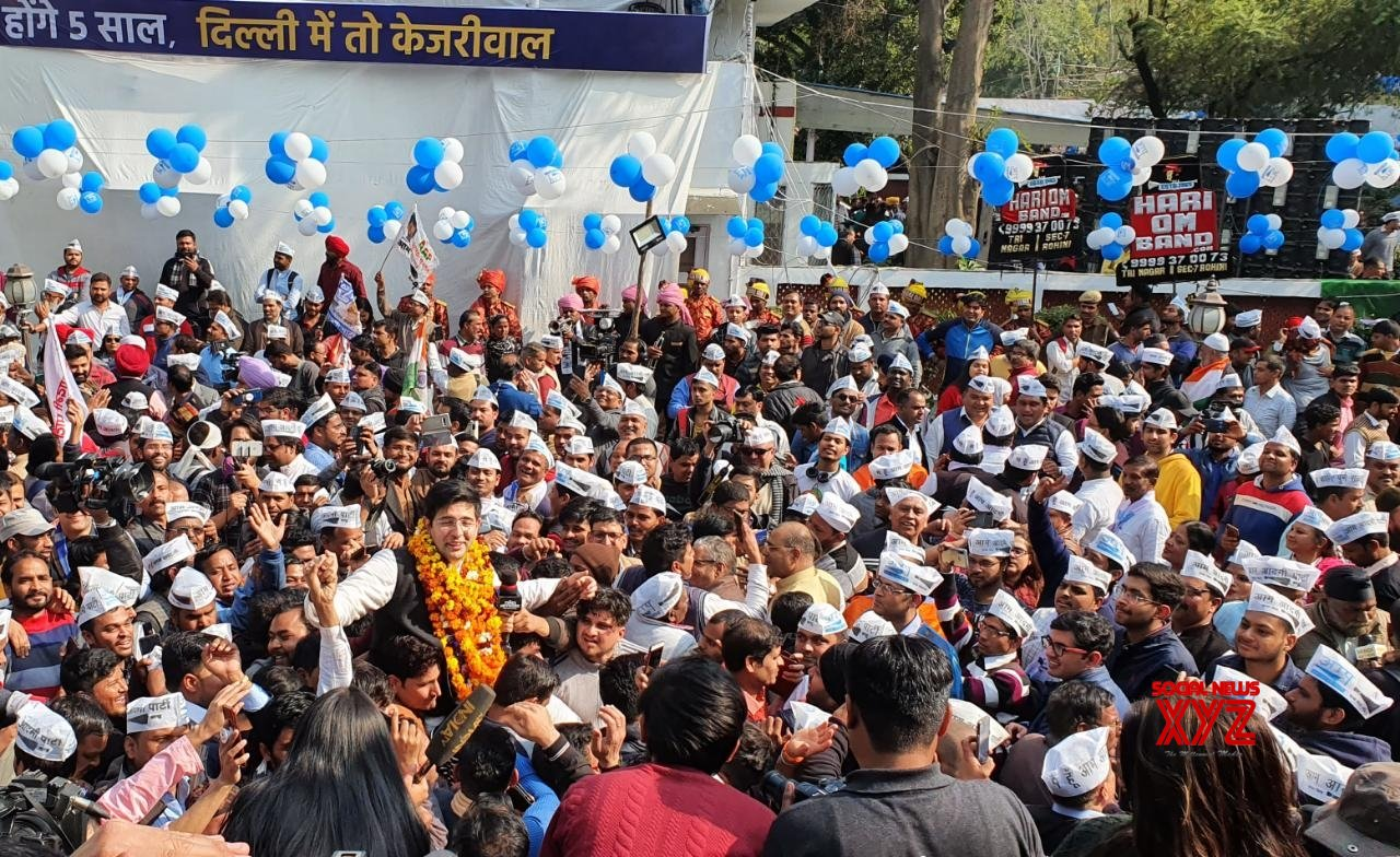 New Delhi: AAP's Raghav Chadha receives warm welcome at party headquarters #Gallery