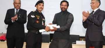 """New Delhi: Union MoS Home Affairs G. Kishan Reddy presents the Counter-IED Innovators awards at the 20th International Seminar on """"Comprehends the Evolving Contours of Terrorism & IED Threat-Wayahead for the Security Community"""" organised by the National Security Guard (NSG) in Manesar, Haryana on Feb 12, 2020. Also seen NSG DG Anup Kumar Singh and other dignitaries. (Photo: IANS/PIB)"""
