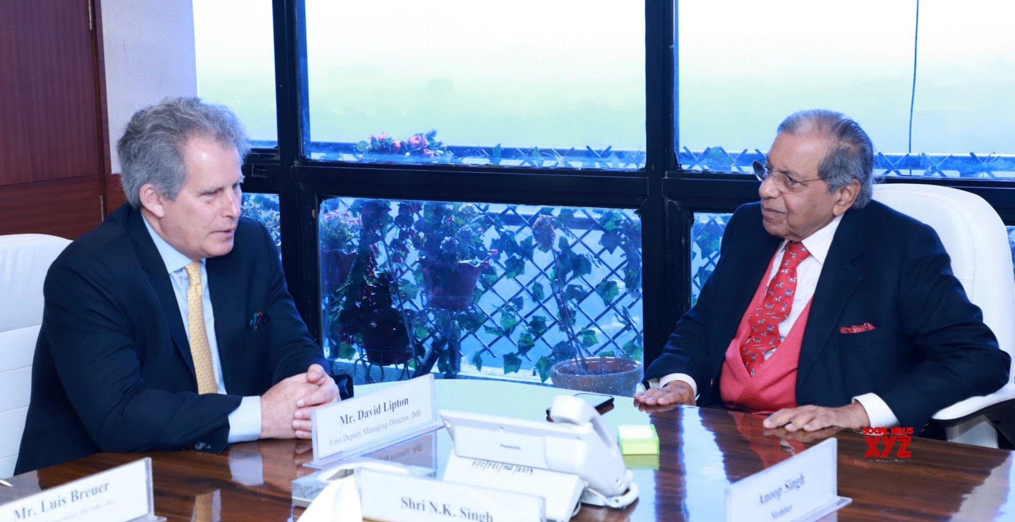 New Delhi: IMF First Deputy Managing Director David Lipton meets NK Singh #Gallery