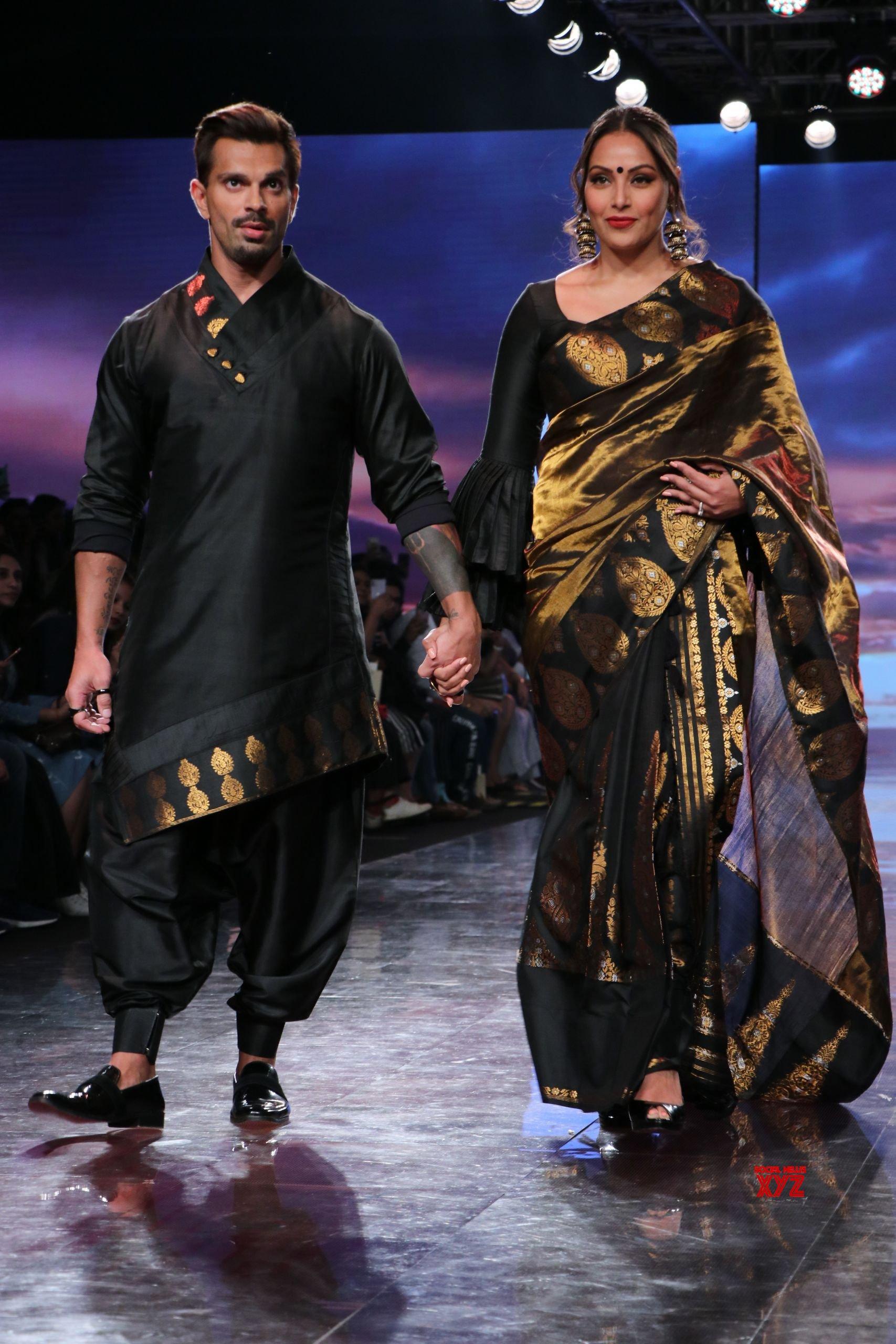Bipasha Basu And Karan Singh Walked For Sanjukta At Lakme Fashion Week SR 2020 HD Gallery