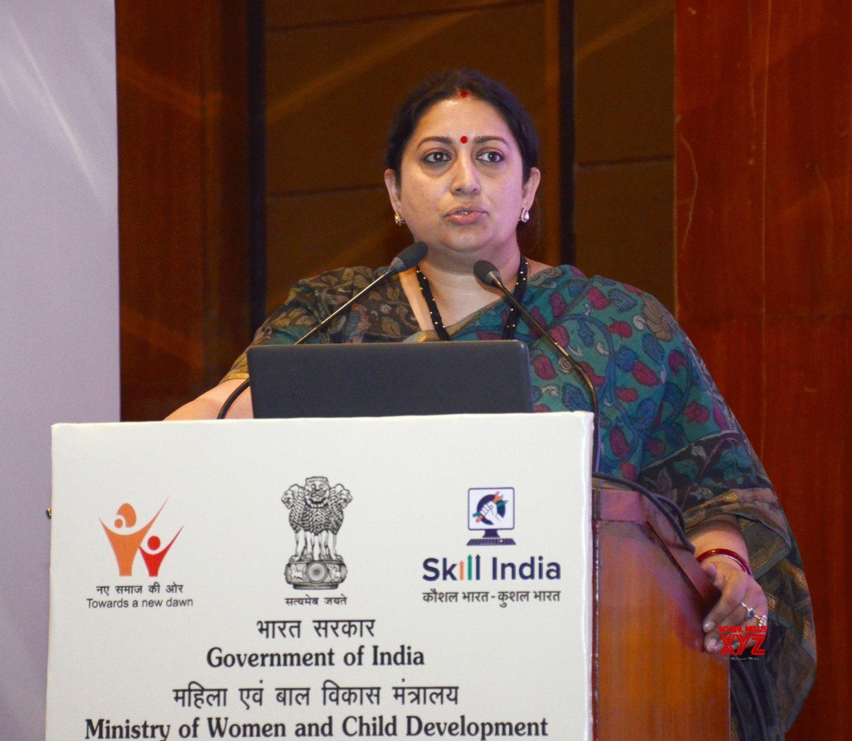 New Delhi: Union Minister Smriti Irani addresses at the valedictory session #Gallery
