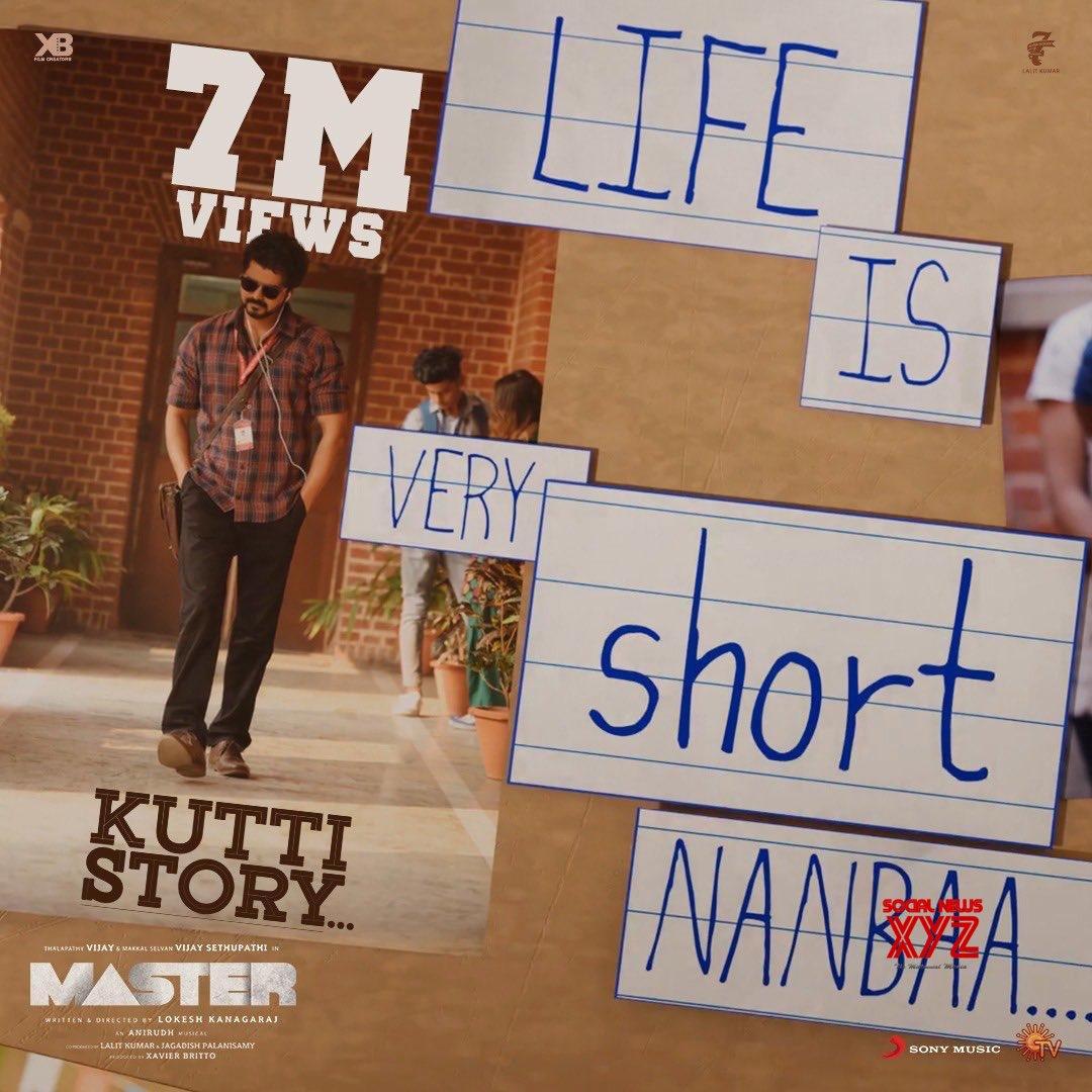 Thalapathy Vijay's Master Movie Kutti Kathai Aka Kutti Story Song 7 Million Views Poster