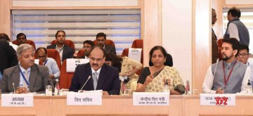 New Delhi: Union Finance and Corporate Affairs Minister Nirmala Sitharaman chairs the 39th GST Council meeting, in New Delhi on March 14, 2020. Also seen Union MoS Finance and Corporate Affairs Anurag Thakur. (Photo: IANS/PIB)