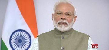 Gandhinagar: Prime Minister Narendra Modi addresses a convention on 'Conservation of Migratory Species of Wild Animals' in Gandhinagar, Gujarat on Feb 17, 2020. (Photo: IANS)