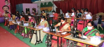 Hyderabad: Telangana women activists busy stitching masks amid supply shortage and high demand during COVID-19 pandemic, in Hyderabad on March 20, 2020. (Photo: IANS)