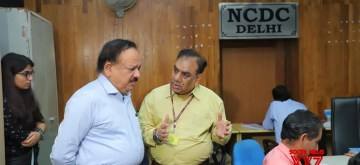 New Delhi: Union Health Minister Harsh Vardhan during his visit to the National Center for Disease Control (NCDC) Control Room to interact with the responders & encourage them in combating the COVID-19 outbreak, in New Delhi on March 24, 2020. He visited the Epidemiology Lab & reviewed containment measures with States through a VC from NCDC. (Photo: IANS/PIB)