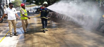 Hyderabad: Fire personnel spray disnfectants across Hyderabad on Day 2 of the 21-day nationwide lockdown imposed by the Narendra Modi government over the coronavirus pandemic; on March 26, 2020. (Photo: IANS)