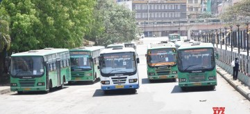 Bengaluru: Buses remain parked at Majestic Bus depot on Day 2 of the 21-day nationwide lockdown imposed by the Narendra Modi government over the coronavirus pandemic; in Bengaluru on March 26, 2020. (Photo: IANS)