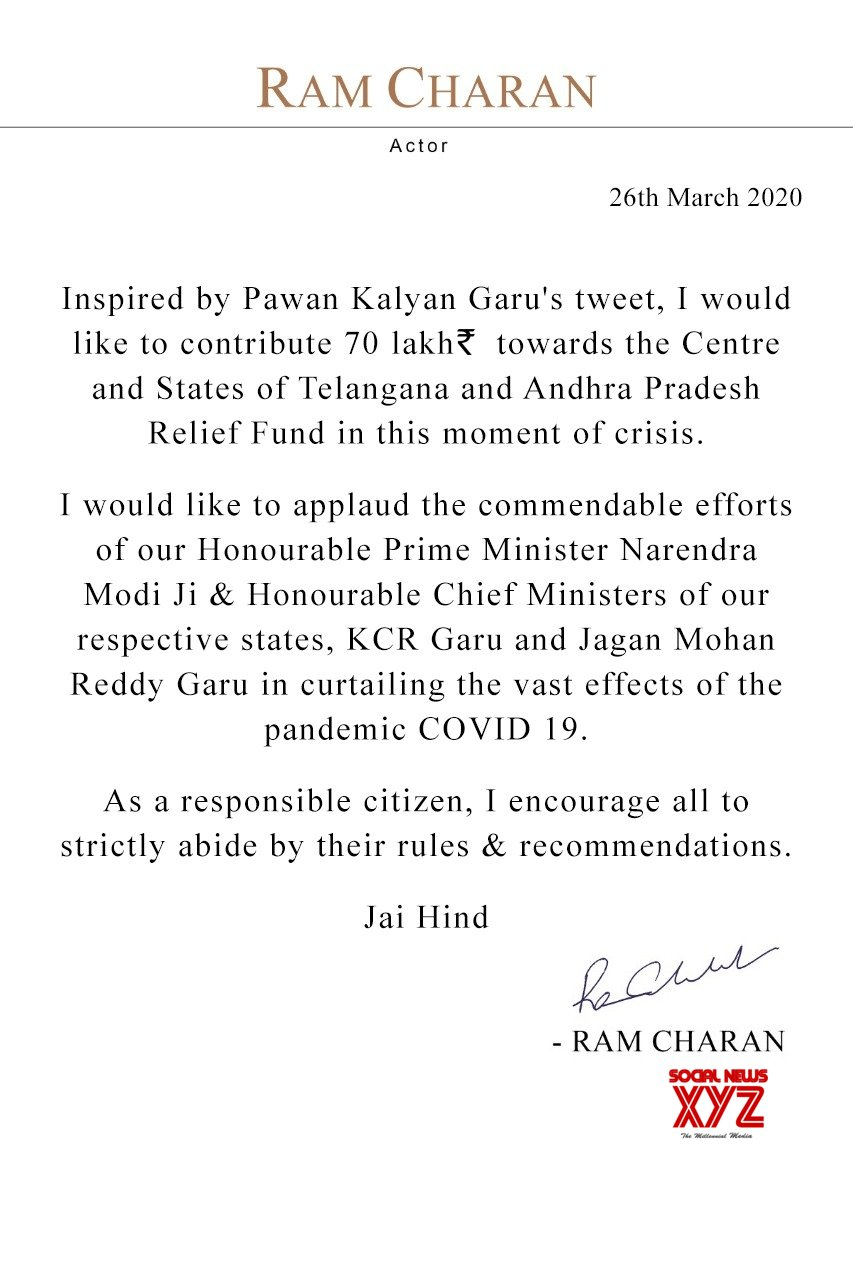 Megapower Star Ram Charan Announces 70 Lakhs Towards Central, Telangana, And Andhra Pradesh Relief Funds