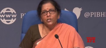 New Delhi: Union Finance ad Corporate Affairs Minister Nirmala Sitharaman addresses a press conference in New Delhi, on March 26, 2020. (Photo: IANS)