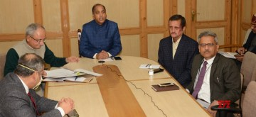 Shimla: Himachal Pradesh Chief Minister Jai Ram Thakur during a video conference with all the Deputy Commissioners and Superintendents of Police of the State to take stock of the situation arisen due to outbreak of Corona pandemic, in Shimla on Apr 3, 2020. (Photo: IANS)