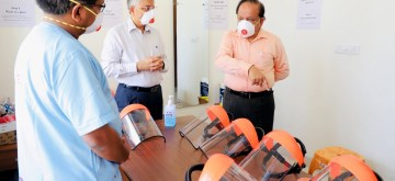 New Delhi: Union Health Minister Harsh Vardhan takes stock of preparedness to overcome COVID-19 during his visit to AIIMS Jhajjhar, in Haryana on Apr 5, 2020. (Photo: IANS/PIB)
