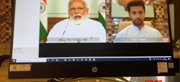 New Delhi: Prime Minister Narendra Modi holds a meeting with Parliamentary floor leaders of different parties via video conferencing to decide the future course of action in the wake of coronavirus outbreak in India among other key issues, in New Delhi on Apr 8, 2020. (Photo: IANS)