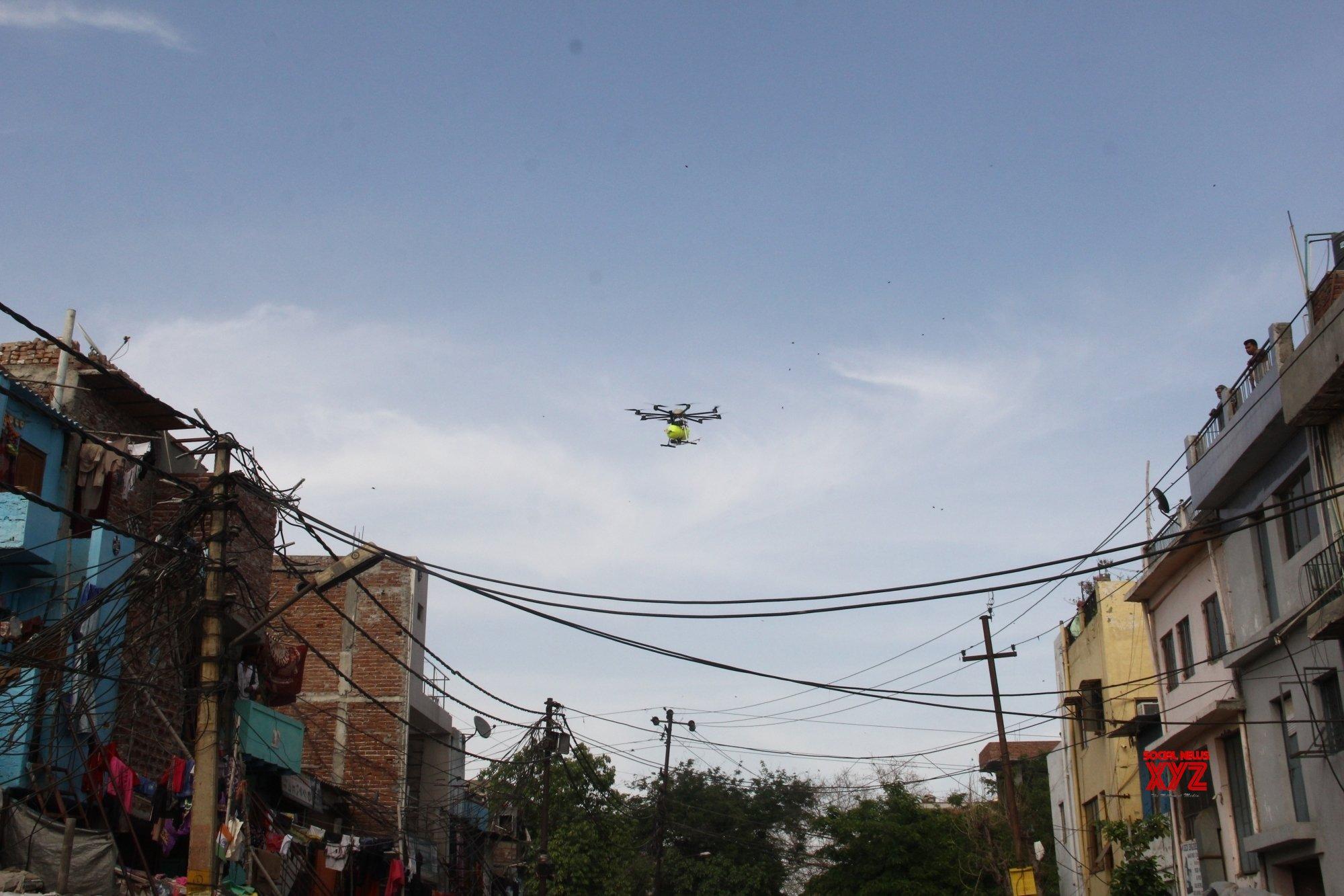 Noida: Drones spray disinfectants in Noida Sector 10 during lockdown #Gallery