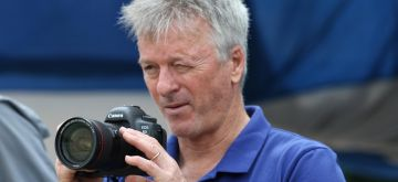 Kolkata: Former Australian captain Steve Waugh clicks photographs during a Ranji Trophy match between Delhi and Bengal at the Edeen Gardens in Kolkata on Jan 27, 2020. (Photo: Kuntal Chakrabarty/IANS)