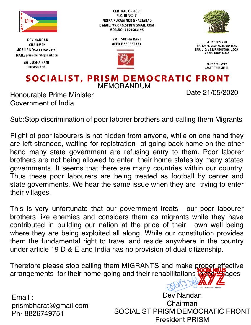 Socialist Front Asks PM Modi To Stop Discrimination Against Poor Laborer Brothers Calling Them Migrants