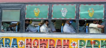Kolkata: Social distancing norms being violated as people use public transport during the fifth phase of the nationwide lockdown imposed to mitigate the spread of coronavirus, on June 5, 2020. (Photo: Kuntal Chakrabarty/IANS)