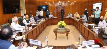 New Delhi: Union Home Minister Amit Shah chairs a meeting to review the situation of COVID19 in the national capital, New Delhi on June 14, 2020. Also present at the meeting were Union Health Minister Harsh Vardhan, Delhi Lt. Governor Anil Baijal, Chief Minister Arvind Kejriwal, Deputy Chief Minister Manish Sisodia and State Health Minister Satyendra Kumar Jain. (Photo: IANS/PIB)