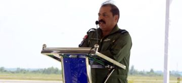 Thanjavur: Chief of the Air Staff, Air Chief Marshal R.K.S. Bhadauria addresses during the induction ceremony of No 222 Squadron, at Air Force Station, Thanjavur, Tamil Nadu on Jan 20, 2020. (Photo: IANS/PIB)