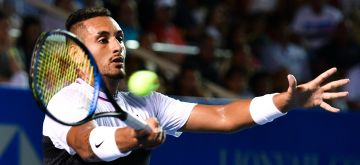 (190303) -- ACAPULCO, March 3, 2019 (Xinhua) -- Nick Kyrgios of Australia hits a return during the men's singles final match between Nick Kyrgios of Australia and Alexander Zverev of Germany at the 2019 ATP Mexican Open tennis tournament in Acapulco, Mexico, on March 2, 2019. Nick Kyrgios won 2-0 to claim the title. (Xinhua/Xin Yuewei)