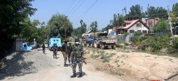 Anantnag: Army personnel launch a cordon and search operation (CASO) after two terrorists were killed in an encounter with security forces in South Kashmir's Anantnag district on June 30, 2020. (Photo: IANS)